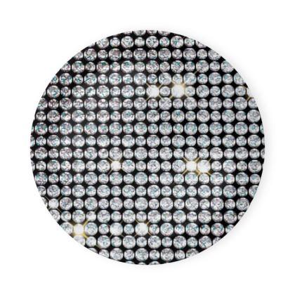 Diamond glamor - Round Coaster Trays - Brilliant crystals, chic, black and white, sparkling, precious, humor, looks expensive, rhinestones, glitter, jewelery, glamorous fun gift - design by Tiana Lofd