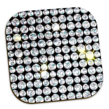 Diamond glamor - Coasters - Brilliant crystals, chic, black and white, sparkling, precious, humor, looks expensive, rhinestones, glitter, jewelery, glamorous fun gift - design by Tiana Lofd