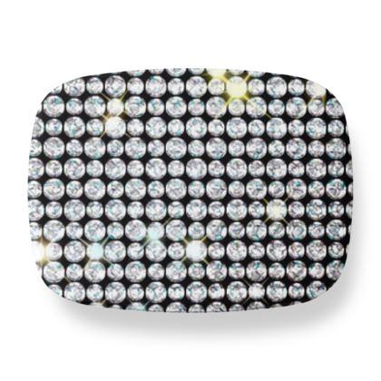 Diamond glamor - Lunch Box - Brilliant crystals, chic, black and white, sparkling, precious, humor, looks expensive, rhinestones, glitter, jewelery, glamorous fun gift - design by Tiana Lofd