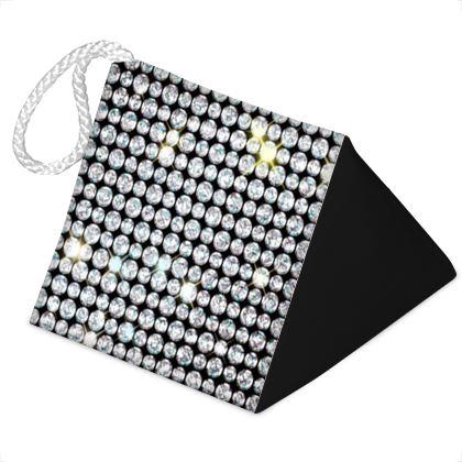 Diamond glamor - Door Stopper - shiny crystals, chic, black and white, sparkling, precious, humor, looks expensive, rhinestones, glitter, jewelery, glamorous fun gift - design by Tiana Lofd