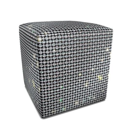 Diamond glamor - Square Pouffe - Brilliant crystals, chic, black and white, sparkling, precious, humor, looks expensive, rhinestones, glitter, jewelery, glamorous fun gift - design by Tiana Lofd