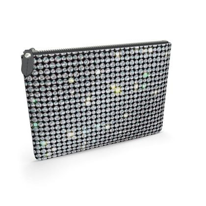 Diamond glamor - Leather pouch - Brilliant crystals, chic, black and white, sparkling, precious, humor, looks expensive, rhinestones, glitter, jewelery, glamorous fun gift - design by Tiana Lofd
