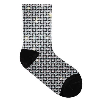 Diamond glamor - Socks - Brilliant crystals, chic, black and white, sparkling, precious, humor, looks expensive, rhinestones, glitter, jewelery, glamorous fun gift - design by Tiana Lofd