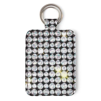 Diamond glamor - Leather Keyring - shiny crystals, chic, black and white, sparkling, precious, humor, looks expensive, rhinestones, glitter, jewelery, glamorous fun gift - design by Tiana Lofd