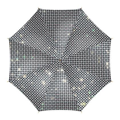 Diamond glamor - Umbrella - Brilliant crystals, chic, black and white, sparkling, precious, humor, looks expensive, rhinestones, glitter, jewelery, glamorous fun gift - design by Tiana Lofd