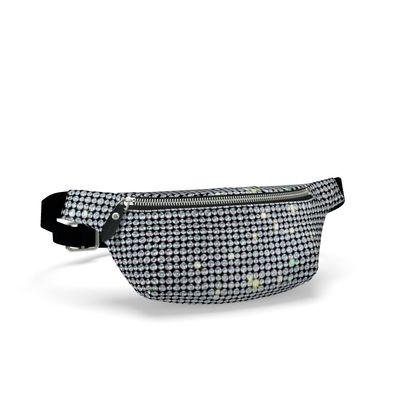 Diamond glamor - Fanny Pack - shiny crystals, chic, black and white, sparkling, precious, humor, looks expensive, rhinestones, glitter, jewelery, glamorous fun gift - design by Tiana Lofd