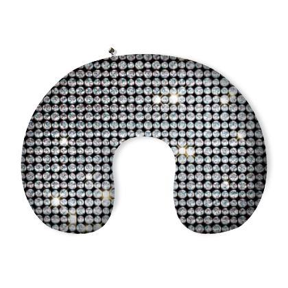 Diamond glamor - Neck Pillow - Brilliant crystals, chic, black and white, sparkling, precious, humor, looks expensive, rhinestones, glitter, jewelery, glamorous fun gift - design by Tiana Lofd