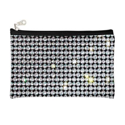 Diamond glamor - Pencil Case - shiny crystals, chic, black and white, sparkling, precious, humor, looks expensive, rhinestones, glitter, jewelery, glamorous fun gift - design by Tiana Lofd