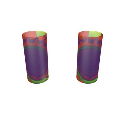 Large Round Shot Glass 2 Set - Colourful Spiked Ball