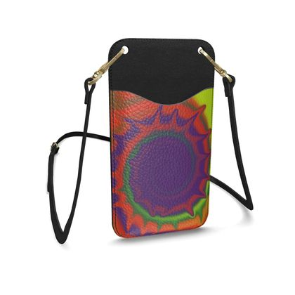 Leather Phone Case With Strap - Colourful Spiked Ball