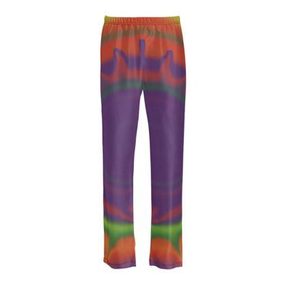 Ladies Silk Pyjama Bottoms - Colourful Spiked Ball