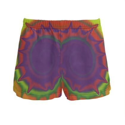 Ladies Silk Pyjama Shorts - Colourful Spiked Ball