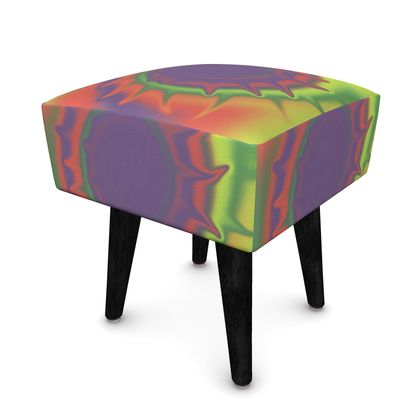 Square Footstool - Colourful Spiked Ball