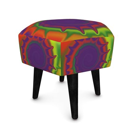 Hexagonal Footstool - Colourful Spiked Ball