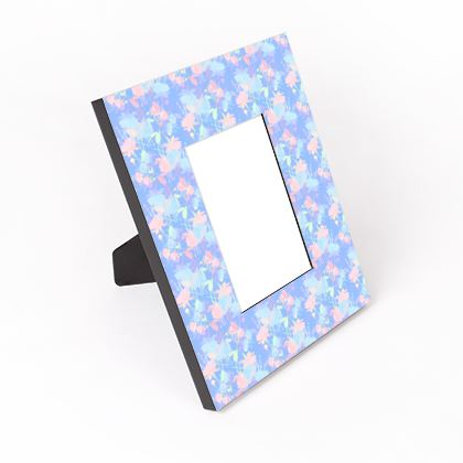 Cut - Out Frame Blue, Pink, Floral  Fuchsias  Baby Blue