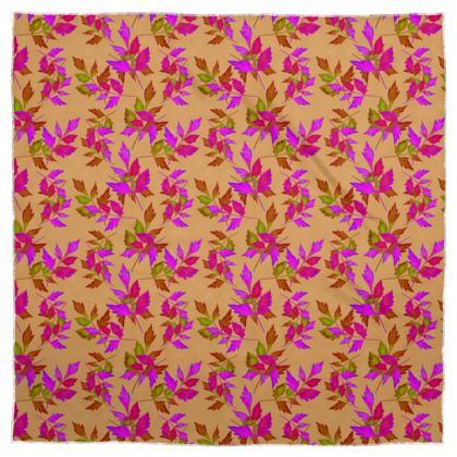 Scarf Pink, Butterscotch [Silk Sensation 90cm x 90cm shown] Botanical  Slipstream  Butterscotch
