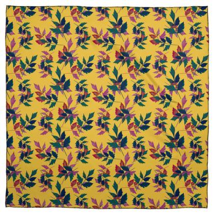 Scarf [Silk Sensation 90 cm x 90 cm shown], Green, Mustard  Botanical  Slipstream   Goldfinch