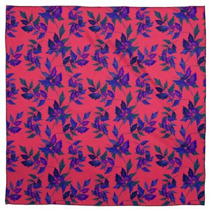 Scarf [Silk Sensation 90 cm x 90 cm shown] Red, Blue, Botanical  Slipstream  Berries