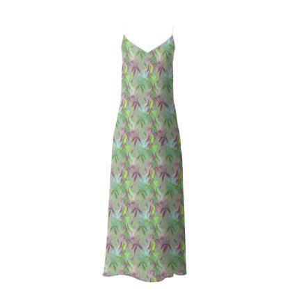 Slip Dress Mauve, Green, Botanical  Passionflower  Moss