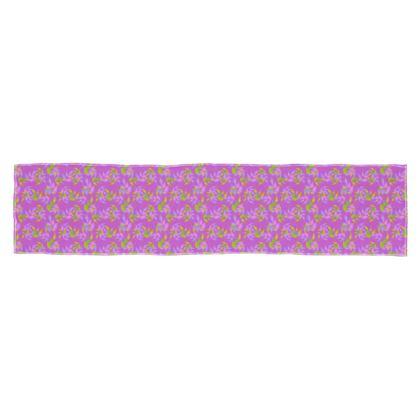 Scarf, Long, Violet, Green, Botanical  Slipstream  Violet Moon