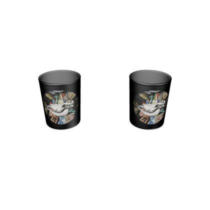 Round Shot Glass 2 Set - Cow Skull on Colourful Background