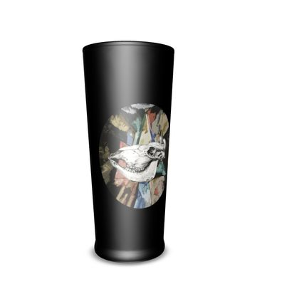 Pint Glass - Cow Skull on Colourful Background