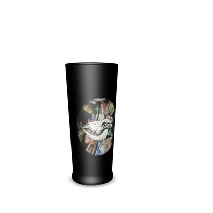 Half Pint Glass - Cow Skull on Colourful Background