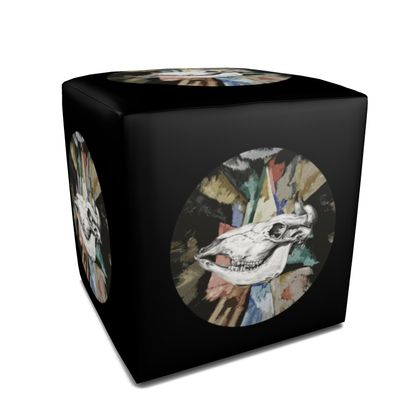Square Pouffe - Cow Skull on Colourful Background