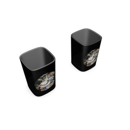 Square Shot Glass 2 Set - Cow Skull on Colourful Background