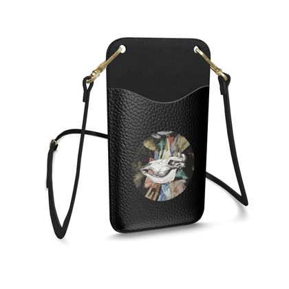 Leather Phone Case With Strap - Cow Skull on Colourful Background