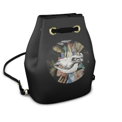 Bucket Backpack - Cow Skull on Colourful Background