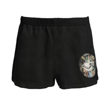 Ladies Silk Pyjama Shorts - Cow Skull on Colourful Background