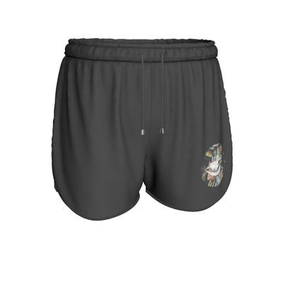 Womens Running Shorts - Cow Skull on Colourful Background