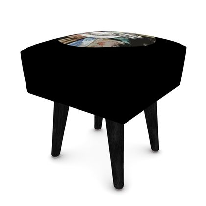 Square Footstool - Cow Skull on Colourful Background