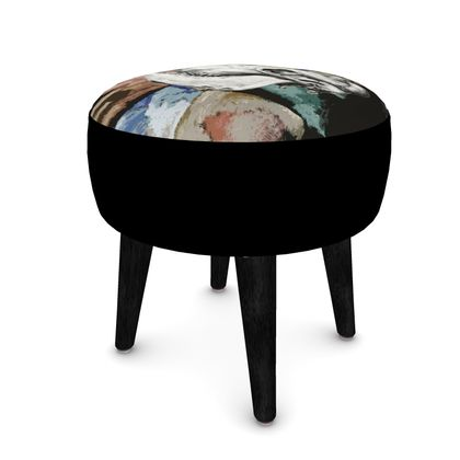 Round Footstool - Cow Skull on Colourful Background