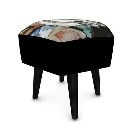 Hexagonal Footstool - Cow Skull on Colourful Background