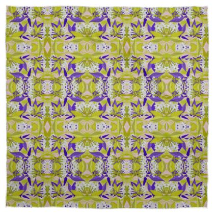 Scarf [90cm square  Silk Sensation shown] Yellow, Blue, Floral  Jasmine  Golden Wheat