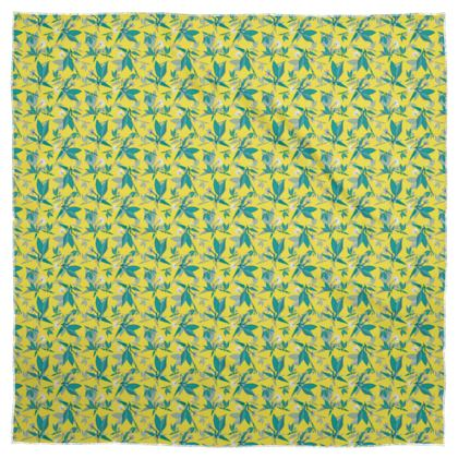 Scarf [90cm square shown], Yellow, Teal, Floral  Jasmine  Canary