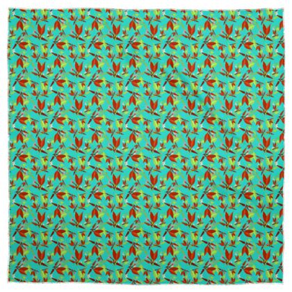 Scarf [90cm square shown], Teal, Brown, Floral  Jasmine Emerald