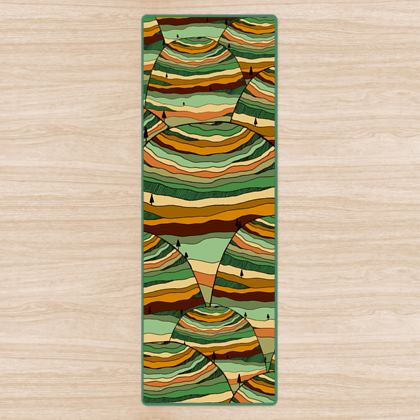 The green pattern hills yoga mat