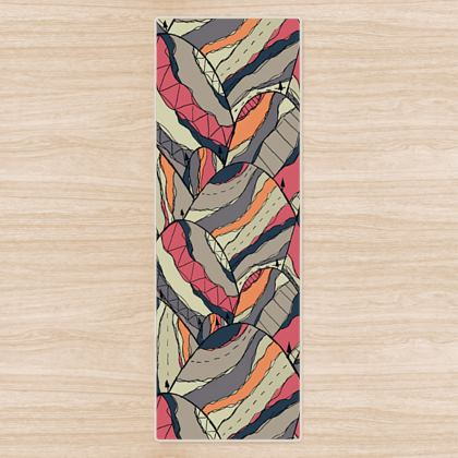 The grey and pink pattern hills yoga mat