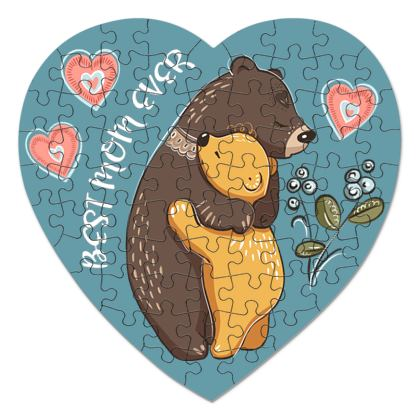 Mom Bear - Heart Jigsaw - Best mom ever, Mothers day gift idea, kids Puzzle for children, family love - design by Tiana Lofd
