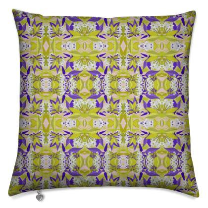 Cushion Yellow, Blue, Floral  Jasmine  Golden Wheat