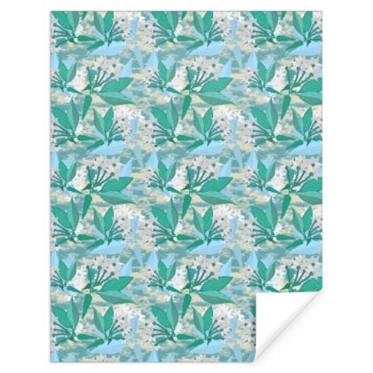 Gift Wrap, Turquoise, Green, Floral  Jasmine  Turquoise Pool