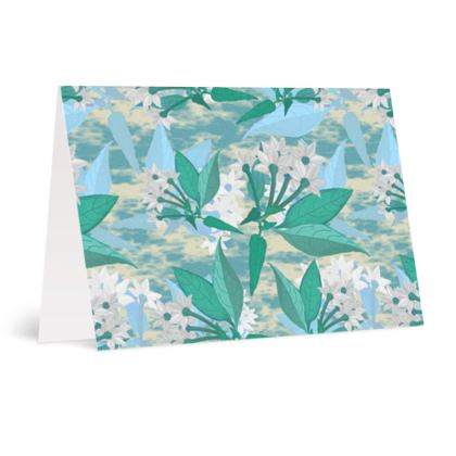 Occasions Card [Happy Birthday] Blue, Green, Floral  Jasmine  Turquoise Pool
