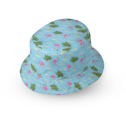 Tropical Flamingos [Blue] Bucket Hat