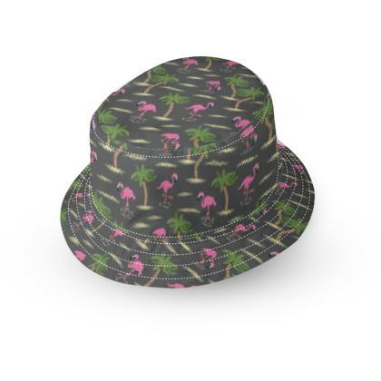 Tropical Flamingos [Charcoal] Bucket Hat