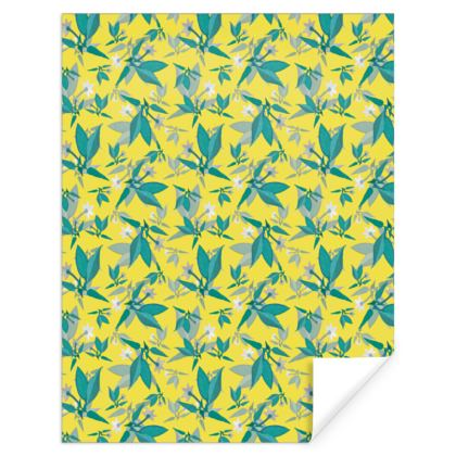 Gift Wrap, Yellow, Teal, Floral  Jasmine  Canary