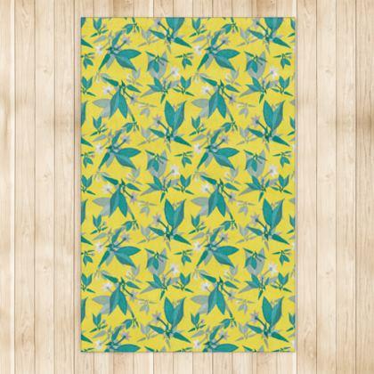 Rug, Yellow, Teal, Floral  Jasmine  Canary