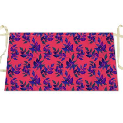 Waist Apron, Red, Blue, Botanical  Slipstream   Berries